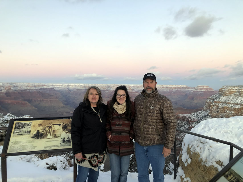 Abigayle with her parents at the Grand Canyon