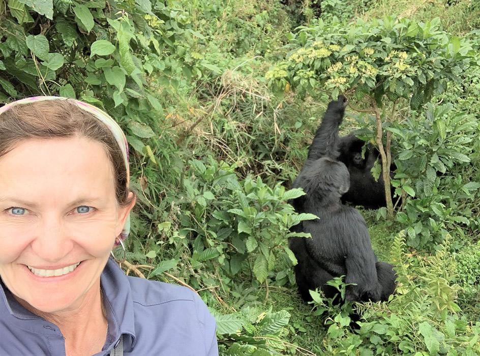 Brynn with 2 gorillas behind her
