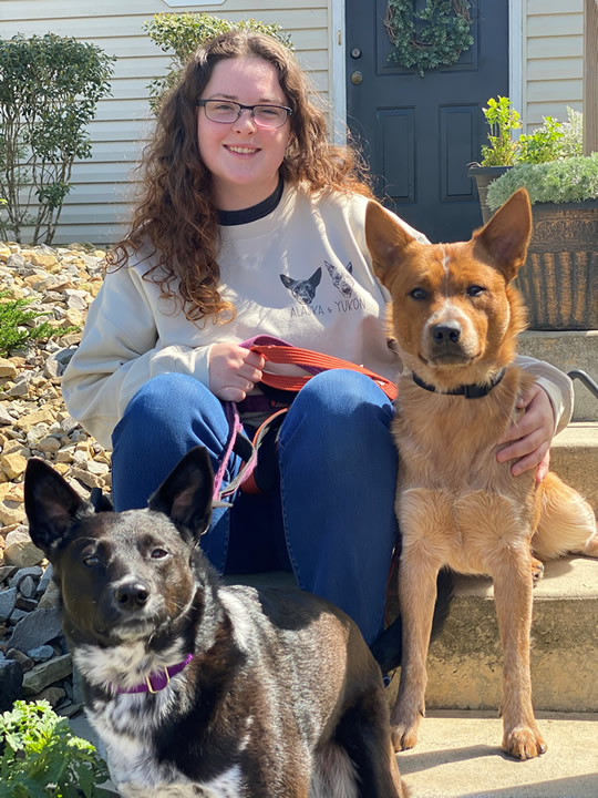 Kelly with her two dogs