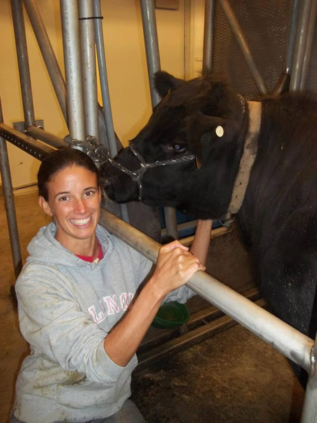 Sonia with a cow