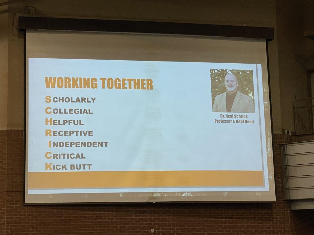 A PowerPoint slide during Dr. Schrick's presentation