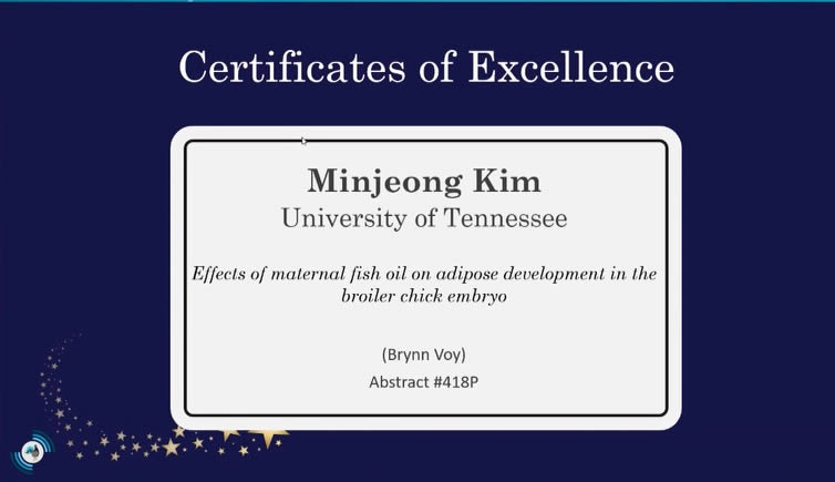 Certificate of Excellence to Minjeong Kim