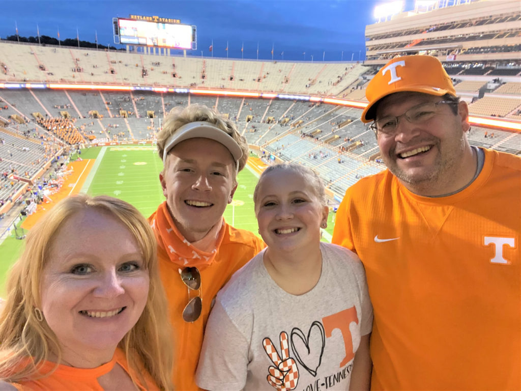Shelley and her family and a UT football game