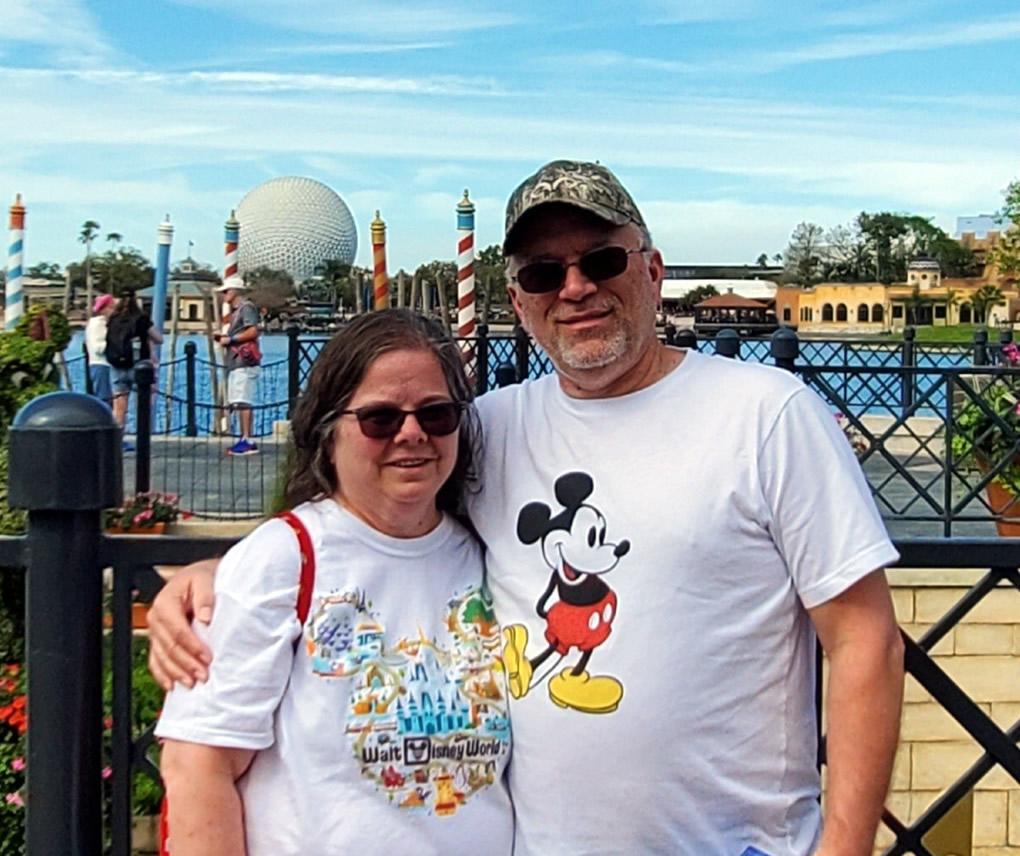 Brenda and her husband at Disney World