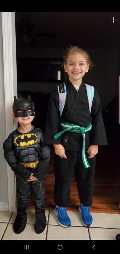 Brenda's grandchildren dressed for halloween